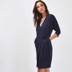 Topshop Navy Blue Wrap Dress